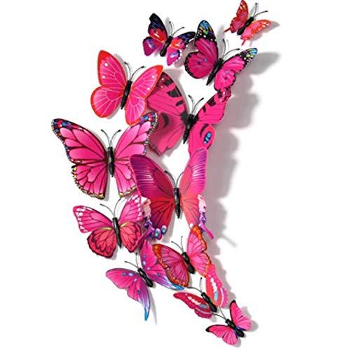 12 pegatinas de pared magnéticas extraíbles 3D de mariposa decorativas para manualidades, decoración del hogar, habitación del bebé, oficina, fiesta y decoración de cumpleaños