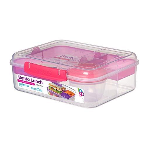 Sistema Bento Lunchbox to Go mit Fruit/Joghurt Topf, klar/pink, 1,65Liter