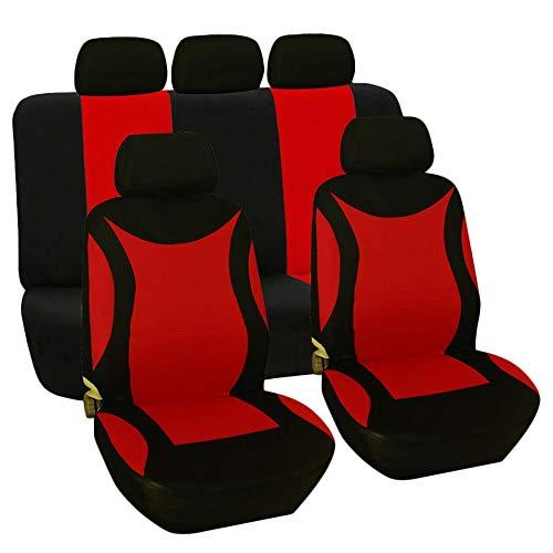 Katigan Universal 9Pcs / Set Cubierta de Asiento de Coche Auto Lavable Protector de Cubierta de Asiento para Camión SUV Negro Rojo