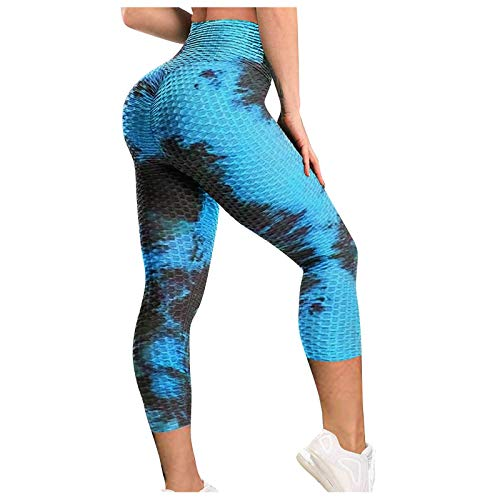 URIBAKY - Leegings para mujer - Tie-dye transpirable - Hip Lifting - Ejercicio Bubble - Pantalones de yoga Azul-1 S
