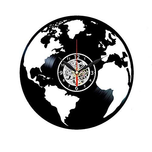 Planet Earth - Orologio da parete in vinile, motivo: mappa del mondo