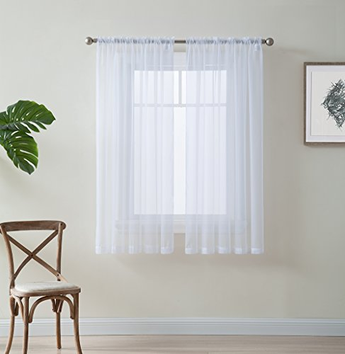 HLC.ME White Window Curtain Sheer Voile Panels for Small Windows, Kitchen, Living Room and Bedroom (54 x 54 inches Long, Set of 2)