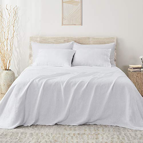 """Umchord French Linen Bed Sheets, 4 Piece 100% Stone Washed Linen Bed Sheet Set for Queen Size Bed, Moisture Wicking Cool Sheet Set for Hot Sleepers (Queen, 90"""" x102"""", White)"""