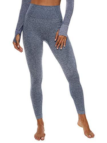 FITTOO Leggings Sin Costuras Corte Malla Mujer Pantalon Deportivo Alta Cintura Yoga Elásticos Seamless #2 Gris Claro Small