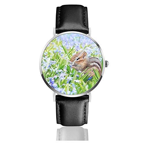 Reloj de cuero unisex clásico casual de moda reloj de cuarzo ardilla primavera campo prado flores reloj de acero inoxidable con correa de cuero PU