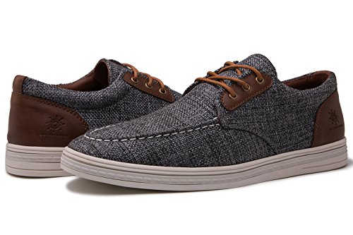 GLOBALWIN Mens 1803 Dark Grey Fashion Casual Loafers Lace Up Boat Shoes Size 9