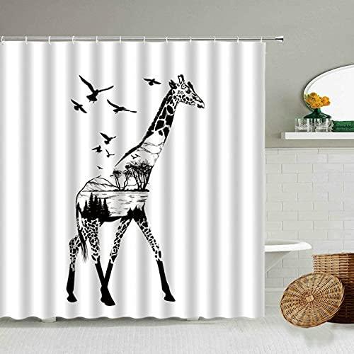 AETTP Schwarz Weiß Abstrakt Kreative Erde Wald Duschvorhang Giraffe Zebra Elefant Bär Badezimmer wasserdichte Gardinen Set 180 * 180cm