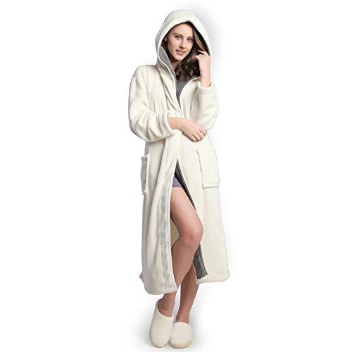 Hooded Women's Cream color Soft Spa Long Kimono Bathrobe with Grey Shawl Collar For Comfy Sleepwear (L)