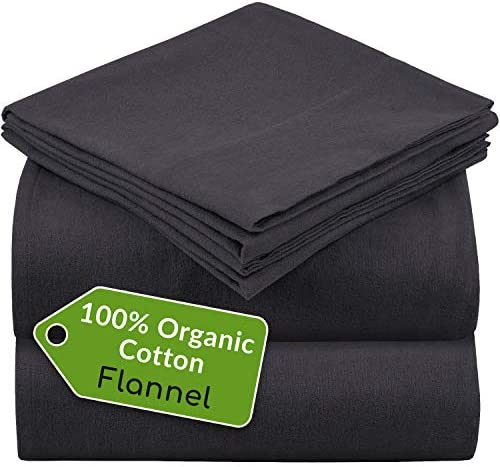 Mellanni 100 Organic Cotton Flannel Sheet Set Heavyweight 180GSM 3 pc Luxury Bed Sheets Cozy product image