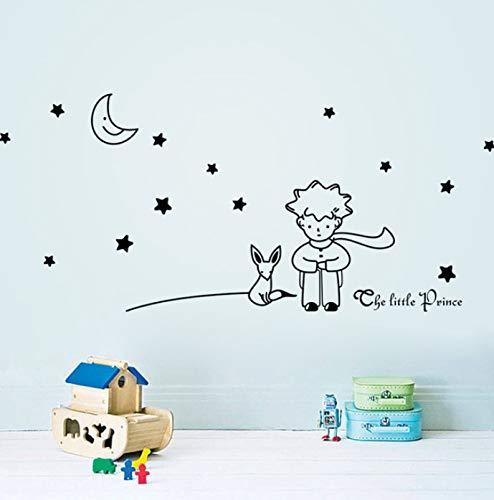 Cuento de hadas de dibujos animados el Principito con Fox Moon Star gato ratón decoración del hogar pegatina de pared para habitaciones de niños decoración de dormitorio infantil