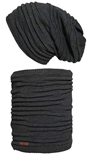 Hilltop Hilltop Winter Set für Mann und Frau: warmer Schal mit Teddy Fleece und passende Mütze in verschiedenen Farben, Winter Set:Dunkelgrau