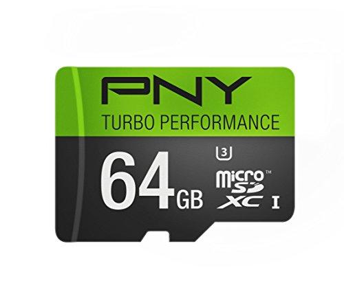 PNY U3 Turbo Performance 64GB High Speed MicroSDXC Class 10 UHS-I, up to 90MB/sec Flash Card...