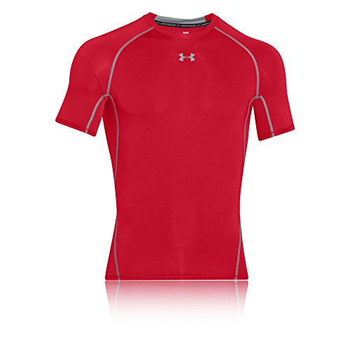 Under Armour UA HeatGear Kurzarm, Kompressionsunterhemd für Sport, Herren-Fitness-Top mit HeatGear-Stoff Herren, Rot (Rot / Stahl (600)), M.