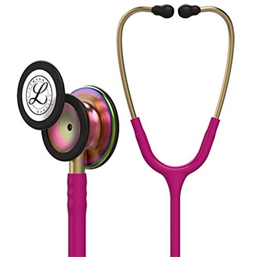 3M Littmann  Classic III Monitoring Stethoscope, Rainbow-Finish, Raspberry Tube, 27 inch, 5806 (Renewed)