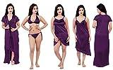 divine paridhaan Women's Satin Nighty, Robe, Top, Night Dress - Set of 6 (Begni, Free Size) Blue