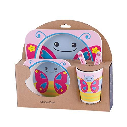 Lorsoul 5pcs / Set Vajilla Niños bebé tazón vajillas, Fibra de bambú Natural, la Mariposa, del niño Copa Cuchara Tenedor