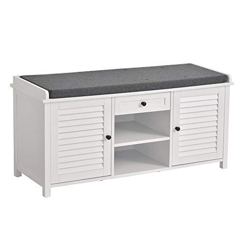 HOMCOM Schuhbank, Schuhregal mit Schublade, 2 Regalen, 2 Schränken, Schuhständer Sitzbank Schuhschrank Multifunktion, P2 MDF, Weiß 110 x 40 x 54 cm