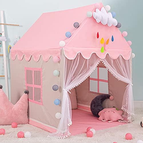 Princesa Tienda Campaña para Niñas Grande Rosa Princesa Castillo Carpa Infantil Niñas Tiendas de Juegos para Interiores Regalo para Niños Niñas con Bolsa de Transporte (Decoraciones no Incluid