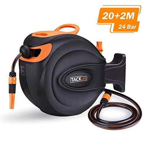 TACKLIFE Carrete para Manguera, 20+2 m, Rotación de 180°, 24 Bar, Retirar Automáticamente, Desmontaje Fácil, Ahorro de Agua /GHR1A