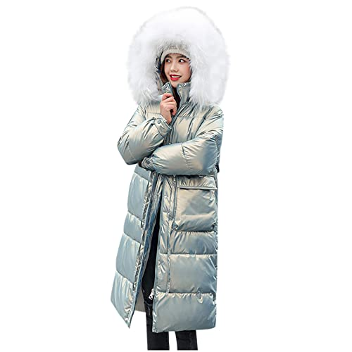UEsent Abrigo largo con capucha para mujer, de algodón, monocolor, cortavientos, chaqueta de invierno con capucha, chaqueta de softshell, resistente al agua, chaqueta acolchada para invierno, verde, M