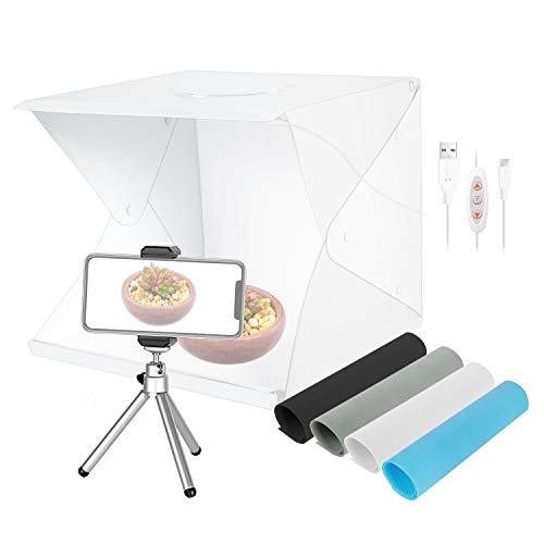 Neewer Caja Luz Sobremesa de 40cm 70 Carpa Estudio Fotografía Portátil con LED (3 Modos Luz/Brillo Regulable/ 4 Fondos Color/Alimentado USB/Mini Trípode/Soporte Teléfono)