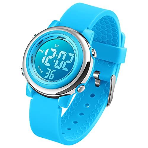 Kinder Digital Sport Uhren-Jungen Mädchen Wasserdicht Armbanduhr Sportuhr mit Wecker Datum Chronograph 7 LED Hintergrundbeleuchtung für Little Jugendliche Jungen - Blau