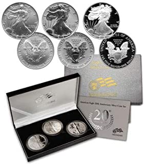 2006 Various Mint Marks 20th Anniversary Silver Eagle 3 Coin Set 2016-W Silver Eagle 20th Anniversary Set 3 Coin W/Reverse Proof Proof