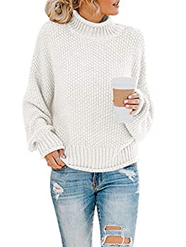 Saodimallsu Womens Turtleneck Oversized Sweaters Batwing Long Sleeve Pullover Loose Chunky Knit Jumper Beige-White