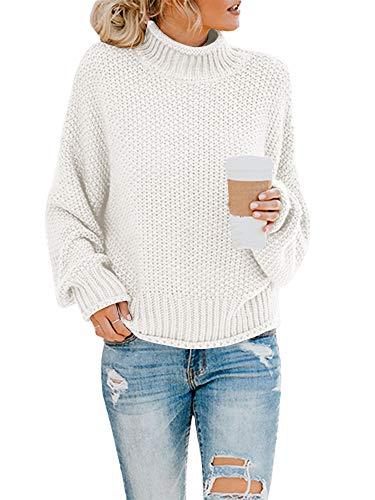 Saodimallsu Womens Oversized Sweaters Loose Batwing Sleeve Turtleneck Sweater Fall Cute Chunky Knit Pullover Jumper Tops