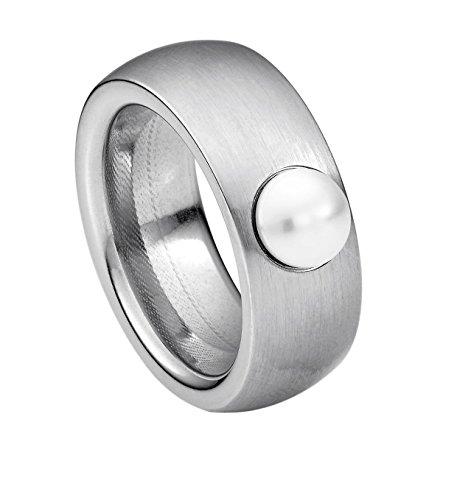 Heideman Ring Damen aus Edelstahl Silber farbend matt Damenring für Frauen mit Swarovski Perle Weiss Cabochon 6mm