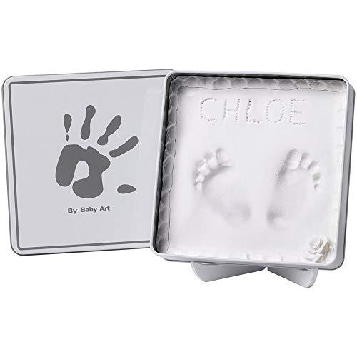Baby Art Magic Box Scatola Quadrata in Metallo con Kit Impronta per Calco in Gesso di Mani e Piedi del Neonato, White And Grey