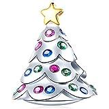 EMOSTAR クリスマスツリー チャーム パンドラチャーム クリスマスブレスレット 925スターリングシルバー クリスマスデコレーションビーズ カラフルなキュービックジルコニア付き メリークリスマス/新年のギフトに