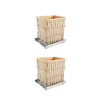 Rev-A-Shelf HRV-1520 S CR Cabinet Floor Mounted Pullout Wire Clothes Laundry Hamper Basket with Liner and Full Extension Slides Chrome  2 Pack