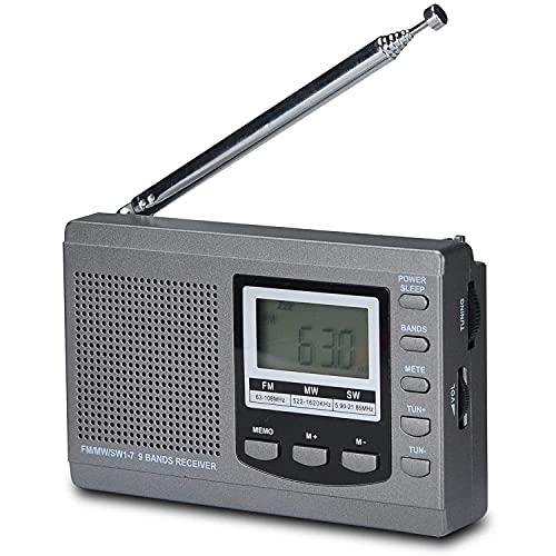 Radio Portátil Am FM, Radio Retro Vintage con Altavoces Integrados, Mejor Recepción Y Más Duradera, Enchufe O 1,5 V, Pantalla LCD, Gris