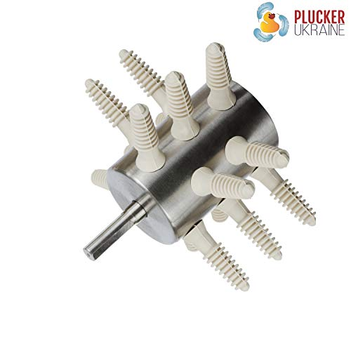 Plucker Drill Attachment – Stainless Steel Poultry Feather Remover 15 Fingers (Small Chicken Quail Pheasant Pigeon Dove) with Small Soft Plucker Fingers