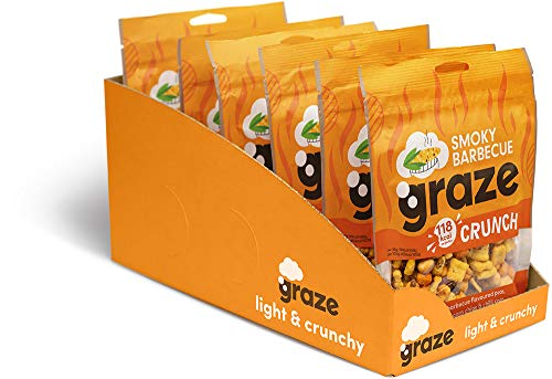 Graze Smoky Barbecue Crunch - Vegan Savoury Snack Sharing Bag - 104g (Pack of 6)