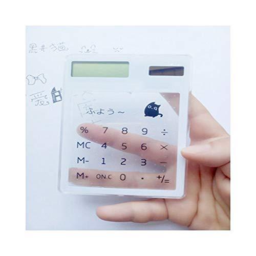 calcolatrice scientifica kawaii HONGYUANZHANG Calcolatrice Scientifica Trasparente Palmare Calcolatrice Tascabile Sveglia Calcolatori Solari Scientific For School Meeting (115X81X6Mm)