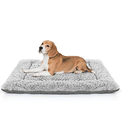 LOLO Dog Bed | Super Soft Dog Crate Pad Mat | Machine Washable Dog Bed for Medium Dogs with Striped Non-Slip Bottom | Comfortable Pet Bed for Dogs and Cats Grey Medium Categories