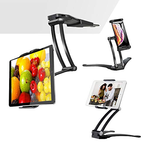 "Aluminum Folding Tablet Stand with 360° Swivel Phone Clamp Mount Holder, Wall Mount/Under Cabinet/Desktop Holder Fits 5-12"" Display Tablet/Phones for Table Bedside Office Desk, Black"