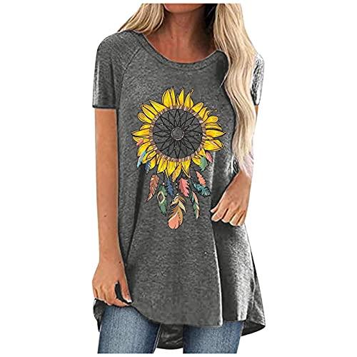 SUMMERA Tshirt Damen Sommer locker Rundhals Casual Lose Oberteile Damen sexy Sommer Basic Einfachheit Bluse Tshirt Damen Tunika Sommer V-Ausschnitt Kurzarm Pullover Lose Bluse(Gray 01,XL)
