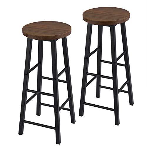 eSituro SBST0395-2 2 x Barhocker, 2er Set Barstuhl Küchenstuhl, Sitzhöhe 71 cm, Tresenhocker mit Fußstütze, 4 Beine aus Metall Industrie Design, Rund, Dunkelbuche