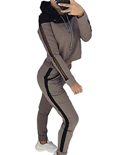 Yesgirl Mujer Pantalones + Tops Conjunto de Chándal de Mujer Camisas Fitness Manga Larga Casual Jersey Chaqueta Hoodie&Pantalones Café M