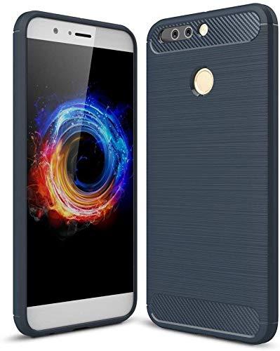 König Design Handy-Hülle kompatibel mit Huawei Honor Note 8 Pro Silikon Case Hülle Sturzsichere Back-Cover Handyhülle - Carbon - Blau