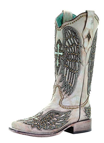 CORRAL A3743 Turquoise Wings and Cross Embroidered Boots (9.5)