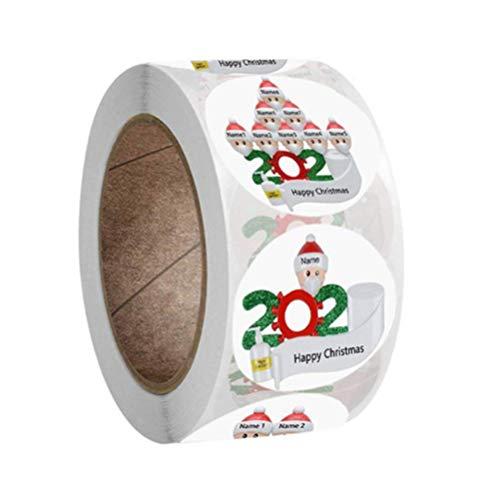 Poapp Etiquetas Adhesivas, 500 Piezas 2020 Etiqueta Adhesiva de Feliz Navidad Redonda Etiqueta autoadhesiva de Regalo para Hornear Bolsas de Regalo de Boda