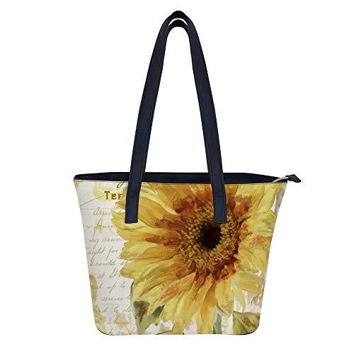 Tote Bags Sonnenblume Stempel Retro Handtasche Damen Big PU Leder Satchel Book Bag Fashion Designer Shopper Schultertaschen für Casual Daily Work Travel