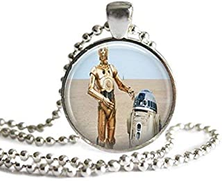 Star Wars R2D2 and C3PO 1 Inch Silver Plated Pendant Necklace or Keychain