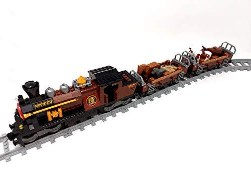 Brigamo Bloques de construcción ferroviario de tren occidental con 2 vagones y carriles