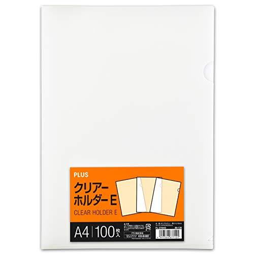 プラス クリアファイル クリアホルダー E A4 100枚 0.18mm 透明 (乳白)クリアー FL-270HO 88-138