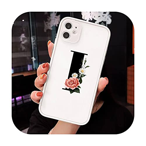Letra del alfabeto moda flor teléfono caso mate transparente para iPhone 7 8 11 12 s mini pro X XS XR MAX Plus cubierta funda-a8-iPhoneXs max